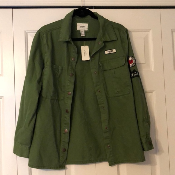 Forever 21 Jackets & Blazers - NWT oversized military jacket w/ patches